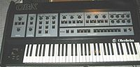 An Oberheim OB-X synthesizer, as used by Geddy Lee on the albums Moving Pictures and Signals.