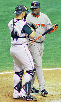 Ortiz (right) with then-Tampa Bay Devil Rays catcher Toby Hall in 2006