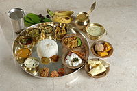 Vegetarian Andhra meal, served on important occasions