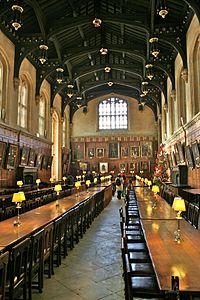 The Hall of Christ Church in Oxford, England, the inspiration for the studio film set of The Great Hall of Hogwarts.