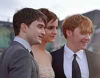 Daniel Radcliffe, Emma Watson, and Rupert Grint at the world premiere of Harry Potter and the Deathly Hallows – Part 2 in Trafalgar Square, London on 7 July 2011