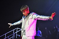 Bieber performing in Indonesia during his My World Tour in 2011