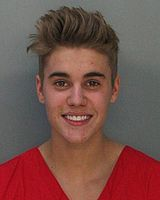 Justin Bieber's January 2014 mugshot, after being detained by police in Miami Beach, Florida
