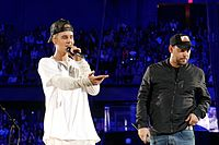 Bieber and his manager Scooter Braun in Rosemont, Illinois in 2015.