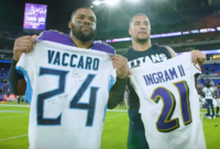 Ingram alongside Kenny Vaccaro in the AFC Divisional Round of the playoffs