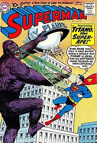 The DC Comics character Titano the Super-Ape (here seen climbing the Daily Planet building and confronting Superman) appears to be modeled on King Kong. From Superman #138, art by Curt Swan and Stan Kaye.