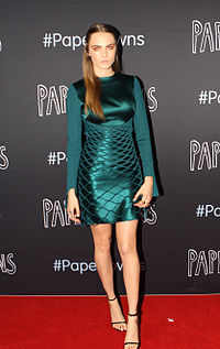 Delevingne at the premiere of Paper Towns in July 2015