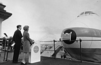 First Lady Pat Nixon christened the first commercial 747 on January 15, 1970
