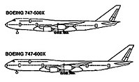 The proposed 747-500X and -600X as depicted in a 1998 FAA illustration
