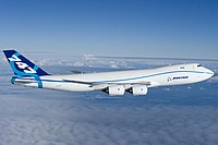 The stretched and re-engined Boeing 747-8 made its maiden flight on February 8, 2010, as a freighter