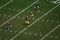 Kicker Jeff Reed of the Pittsburgh Steelers executes a kickoff