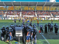 A 2012 football match between national teams of Finland and Sweden at the Sonera Stadium (now Bolt Arena) in Helsinki, Finland