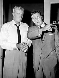 William Hopper and Raymond Burr in the CBS-TV series, Perry Mason (1957–66)
