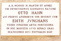 Marble plaque in Latin by Professor Massimo Ragnolini, commemorating the honeymoon of Otto Hahn and his wife Edith at Punta San Vigilio, Lake Garda, Italy, in March and April 1913.