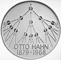 5 DM coin, Germany, honouring Hahn and his discovery of fission, 1979