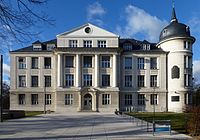 Former Kaiser Wilhelm Institute for Chemistry building in Berlin. Heavily damaged by bombing during the Second World War, it was restored and became part of the Free University of Berlin. It was renamed the Otto Hahn Building in 1956, and the Hahn-Meitner Building in 2010.