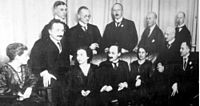 Physicists and chemists in Berlin in 1920. Front row, left to right: Hertha Sponer, Albert Einstein, Ingrid Franck, James Franck, Lise Meitner, Fritz Haber, and Otto Hahn. Back row, left to right: Walter Grotrian, Wilhelm Westphal, Otto von Baeyer, Peter Pringsheim and Gustav Hertz