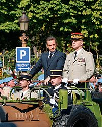 Nicolas Sarkozy and General Jean-Louis Georgelin, Chief of the Defence Staff, reviewing troops during the Bastille Day 2008 military parade on the Champs-Élysées, Paris
