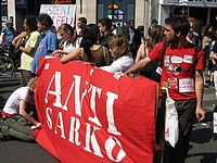 """Many on the left distrust Sarkozy; specific """"anti-Sarko"""" movements have been started."""