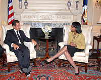 Sarkozy as Minister of the Interior with U.S. Secretary of State Condoleezza Rice, after their bilateral meeting in Washington, D.C., 12 September 2006