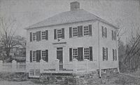 First Academy Building c. 1910, where the school opened in 1783
