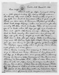 Letter from President Abraham Lincoln to Mary Todd Lincoln, written from Exeter, where Lincoln was visiting son Robert Todd Lincoln, then an Exeter student. March 1860