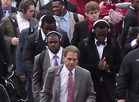 """Saban leads the """"Walk of Champions"""" prior to the Iron Bowl"""