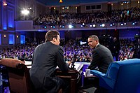Fallon interviewing President Barack Obama on the campus of UNC at Chapel Hill in April 2012, while at the helm of his tenure at Late Night