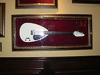 A Vox Teardrop guitar as used by Brian Jones, on display at the Hard Rock Cafe in Sacramento, California