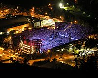 Overhead shot of the Stones concert at Washington–Grizzly Stadium in Montana, October 2006. The Stones have had the highest-grossing concert tour three times.
