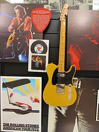 """A copy of """"Micawber"""", Keith Richards' signature Telecaster model, in the Fender Guitar Factory Museum"""