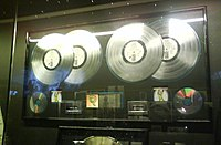 Multiple platinum award for their 1994 album Voodoo Lounge, on display at the Museo del Rock in Madrid