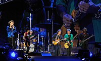 The Rolling Stones performing in Hyde Park, London on 13 July 2013. They were joined on stage by Mick Taylor.
