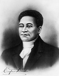 """Crispus Attucks, the first """"martyr"""" of the American Revolution. He was of Native American and African-American descent."""