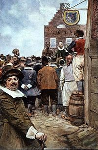 The first slave auction at New Amsterdam in 1655, illustration from 1895 by Howard Pyle