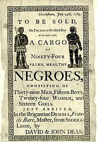 Reproduction of a handbill advertising a slave auction in Charleston, South Carolina, in 1769