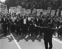 March on Washington for Jobs and Freedom, August 28, 1963, shows civil rights leaders and union leaders