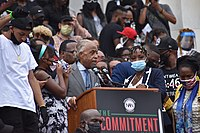 Al Sharpton led the Commitment March: Get Your Knee Off Our Necks protest on August 28, 2020.