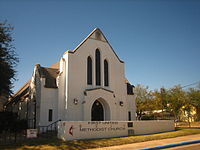 The First United Methodist Church near the intersection of McClelland and Guadalupe; the cornerstone from the 1916 building on Hidalgo Street downtown was moved to the current location in 1949.
