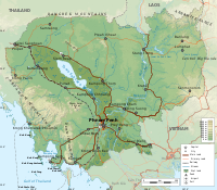 Geographic map of Cambodia