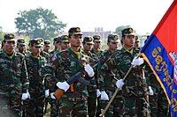 Royal Cambodian Army officers marching