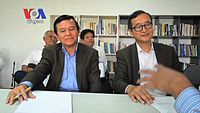 Cambodia's deputy opposition leader Kem Sokha (left) has been arrested in September 2017 while opposition leader Sam Rainsy (right) has lived in exile since November 2015