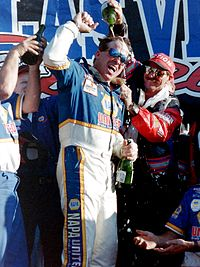 Hornaday celebrating his championship with owner Dale Earnhardt