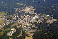 Aerial view of the UConn's main campus