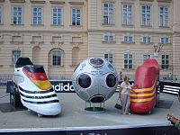 A large model of the adidas Europass prior to the final between Germany and Spain