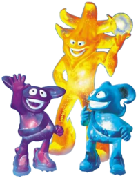 Ato, Kaz and Nik were the 2002 World Cup mascots.