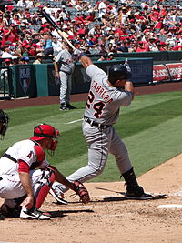 Cabrera batting against the Angels in 2012