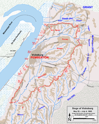 Siege of Vicksburg. Corps and division commanders are shown for the period June 23 – July 4.