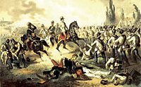 Franz Joseph among his troops at Solferino, fought during the Franco-Austrian War of 1859