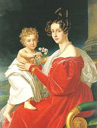 Franz Joseph and his mother Archduchess Sophie. Painting by Joseph Karl Stieler.